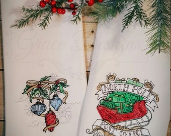 Embroidered Christmas Kitchen Towel Set of 2