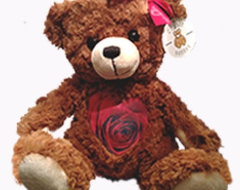 Valentine's Teddy Bear with custom recording - Keepsake teddy - Gifts for her - I Love You - Personalized gift - Roses teddy - Cuddly bear