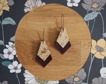 Earrings leather, Brown and croco