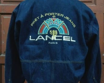 Rare !!! Lancel Paris Pret A Porter Jeans Jacket Zipper big logo / hat lancel