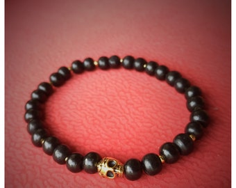 Gold Plated Skull, Black Wood Beaded Men's Bracelet