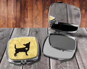 Chihuahua Compact mirror, Make up mirror, Pocket mirror, Hand Mirror, Purse Mirror, Birthday gift, Gift for her