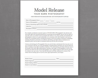 Model Release Form   Photography Template For Photographers   MS Word  *Instant Download*