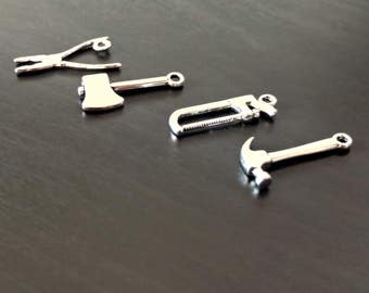 4 Tool Set Charms | Tool Charms | Handyman Charm | Builder Charm | Mechanic Charm | Father's Day Charm | Ready to Ship from USA | SL075-4
