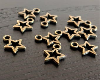 10 Bronze Star Charms   Open Star Charm   Small Star Charm   Celestial Charm   Jewelry Making Supplies   Ready to Ship from USA   BR151-10