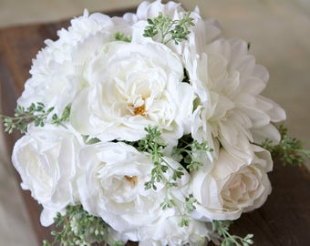 White Wedding Bouquet, Bridal Bouquet, Silk Flower Bridal Bouquet, Bouquet, Wedding Flowers, Peony Bouquet, Boho Bouquet