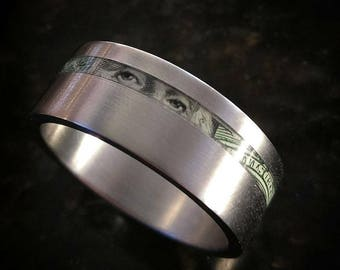 The Federal Reserve  - Titanium Band with Shredded Money Inlay