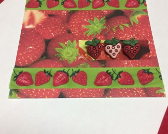 3D Strawberry Button Stationery