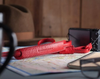 Personalized : Red with black stitch leather camera strap neck handmade for mirrorless camera compact camera, adjustable length.