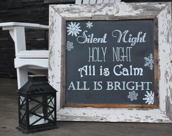 Barnwood Chalkboard Holiday Sign - Silent Night - Christmas Decor