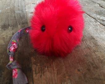 Fluffy the cat toy - faux fur pom pom