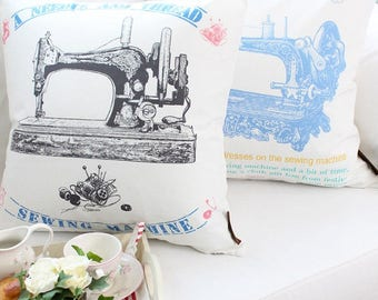 vintage sewing machine cushion cover