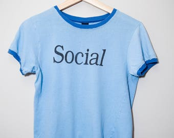 Vintage 1980's Social Extrovert Ringer Shirt | Size Small / Extra Small