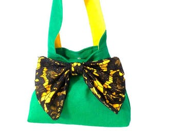 Tote bag with handle and decorative loop
