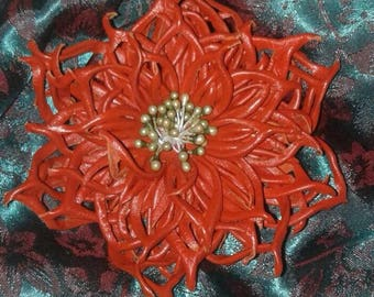 "Brooch-Pendant ""Orange Flower"" Genuine leather"