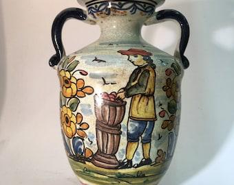 Crackle vase of 22 cm. high. Single piece created and signed by an expert teacher Spanish ceramist.