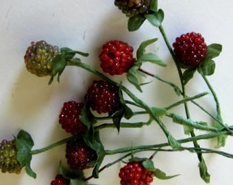 jewelry making supplies... vintage berries with leaves and stems