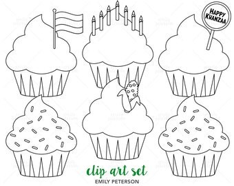 Kwanzaa Cupcakes, African American, Kinara - Cute Digital Stamps, Line Art  - Commercial Use, Instant Download