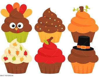 Thanksgiving Cake Clip Art : Cupcakes digital clipart set, cute kawaii cupcakes clip ...
