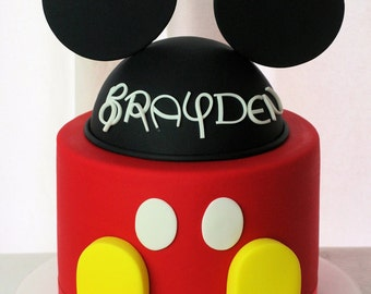 Mickey Mouse Fondant Hat & Ears Cake Topper with Buttons and Shoes