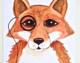 Dapper fox with monocle watercolour print,  nursery prints , nursery decor , nursery art