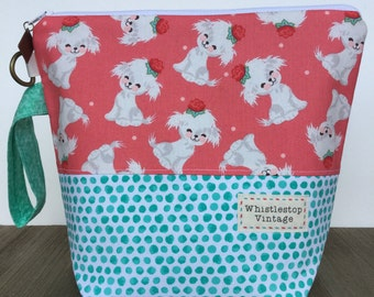 Project Bag, Knitting Bag, Wedge Bag, Zippered Pouch Bag, Sock Knitting, Retro Puppies and Dots