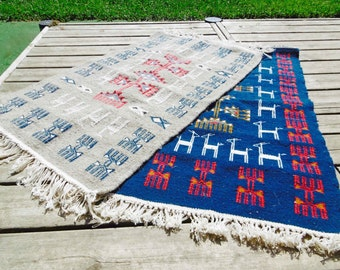 Sale 25% with code Solde25 - blue/grey Berber kilim ethnic patterned rug handwoven 1mx60cm at low prices
