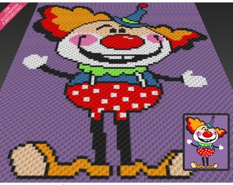 Friendly Clown crochet blanket pattern; c2c, cross stitch; knitting; graph; pdf download; no written counts or row-by-row instructions