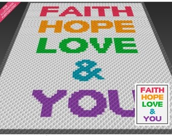 Faith Hope Love crochet blanket pattern; c2c, cross stitch; knitting; graph; pdf download; no written counts or row-by-row instructions