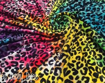 Hand Dyed Organic Bamboo Velour - Cheetah Print
