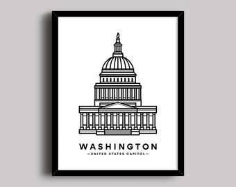US Capitol Building, Washington DC, Capitol Hill Print, Capitol Building Print, State Building, Government Wall Art, US Capitol Poster