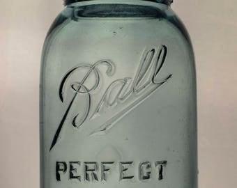 Quart Sized Blue Ball Jar, 1910s, 9 On Bottom