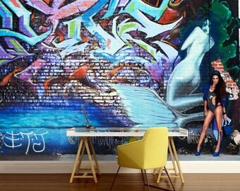 GRAFFITI 3d MURAL, graffiti street art, graffiti wall mural, self-adhesive vinly, graffiti wall decal, graffiti mural, graffiti wall decal,