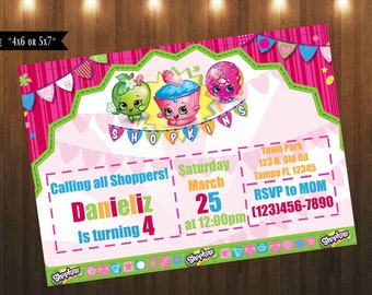 Shopkins Invitation|Digital File Only|4x6 or 5x7