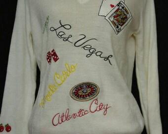 Vintage 70s White V neck Pullover Sweater Large Euc Pinup Girl Viva Las Vegas
