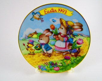 """Vintage Avon Collector's Plate, Easter 1993, """"Easter Parade"""", Porcelain with 22k Gold Trim"""