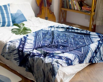 Indigo tie dye throws, tablecloth, bohemian throw, wall hanging, bedding, sheet, wall art, boho, indigo blue, Picnic Blanket, bed skirt