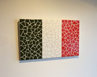 Handmade Italian Flag Mosaic Art