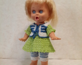 Galoob baby face doll clothes. Crochet dress and pants