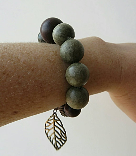 Bracelet wood and metal green-gray and Brown