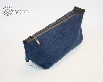 Navy blue make up bag, cosmetic bag, toiletry bag, pencil case with zipper
