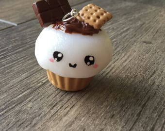 Kawaii cupcake pendant's S'mores in polymer clay