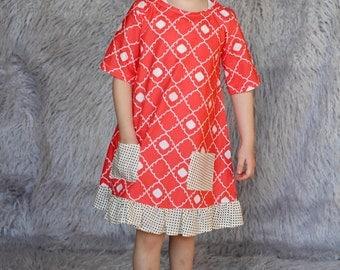 Pink Ruffle Dress w/ Pockets . size 4