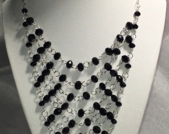 Black & silver bib necklace statement black crystals 925 sterling silver