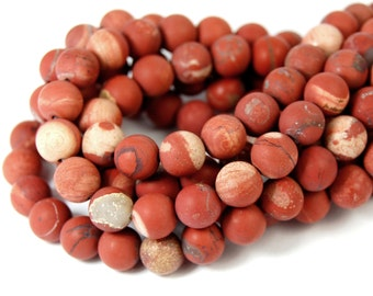 "Two 15.5"" strands White Lace Red Jasper Beads Matte 6mm"