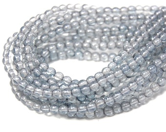 200/pc Transparent Blue Luster Czech 4mm Pressed Glass Round Beads