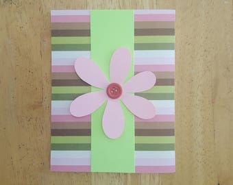 Striped Pink Blank Card