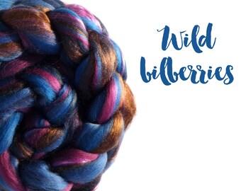 Blended top - roving - 23 micron Merino wool, Bamboo, Mulberry silk - 100g - 3.5oz - WILD BILBERRIES