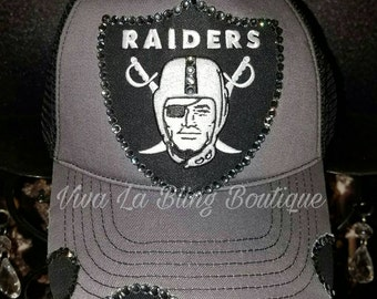 Custom RAIDERS Bling Hat One of A Kind Oversized Shield- Black Diamond Crystals