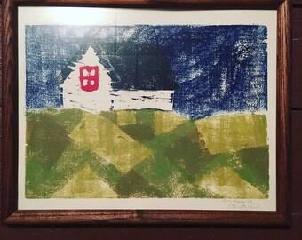 "Wood Block Print, ""Ireland House"" on paper, 9"" x 14"", original art"